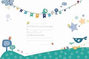 Carte Anniversaire Pour Enfant : invitations anniversaire enfant oiseaux 8 exemplaires ~ Melissatoandfro.com Idées de Décoration