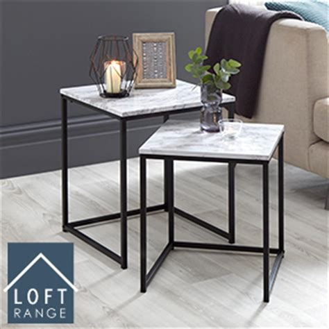 buy loft range marble nest of tables at home bargains in