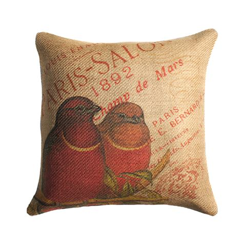 burlap throw pillows burlap pillow of birds throw pillow cushion
