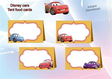 disney cars food labels food tents cards tags disney cars