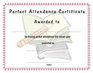 Perfect Attendance Certificate Template Perfect Attendance Certificate