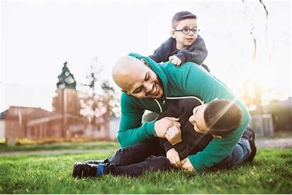 Dad Wrestling Playing Toddler Boys Outside Activities