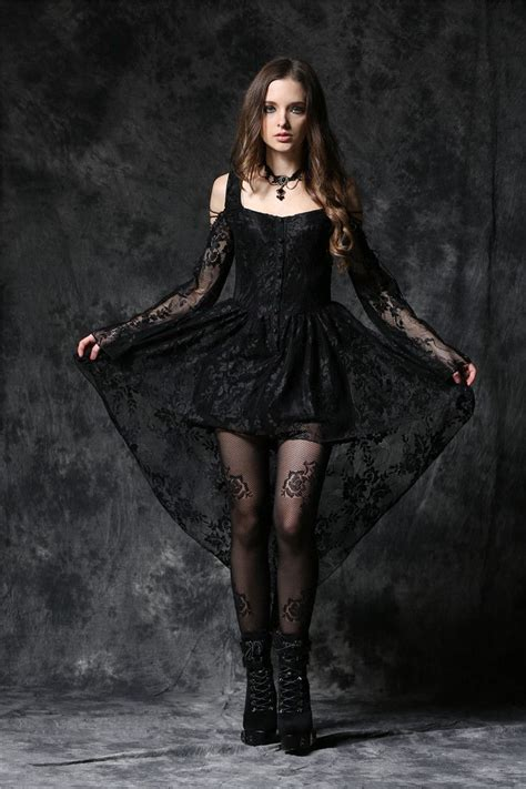 black dark  love gothic ghost dovetail lace prom evening