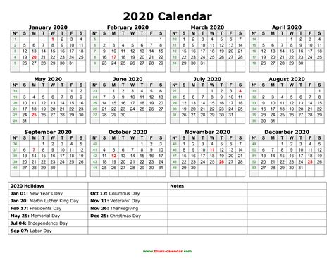 Printable Calendar Federal Holidays 2020