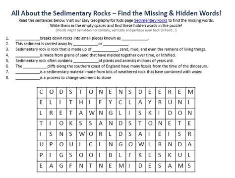 worksheets sedimentary rocks worksheet opossumsoft
