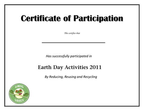 Template For Certificate Of Participation In Workshop by Earth Day Participation Certificate 1024 215 791