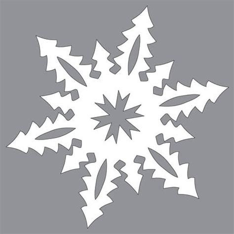 paper snowflake  tall christmas trees pattern cut