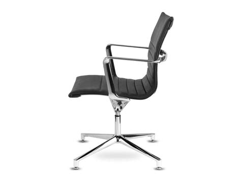 Aquila Low-back Conference Ribbed Swivel Armchair In Leather