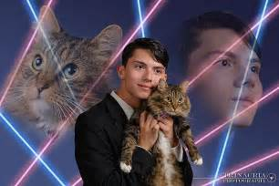 lazer cat with cat in yearbook photo popsugar tech