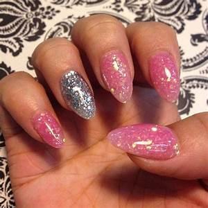 pink glitter acrylic nails   Nail Designs   Pinterest