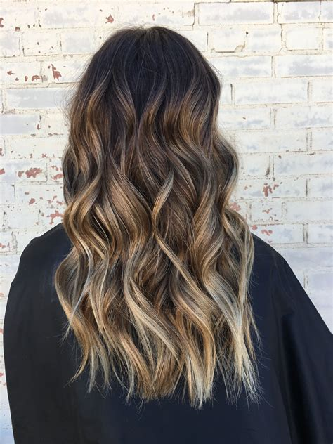 Brown hair, brown balayage, blonde highlights, loose waves ...