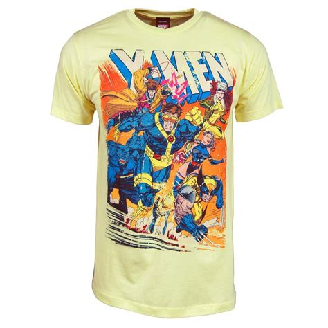 mens marvel cover t shirt yellow