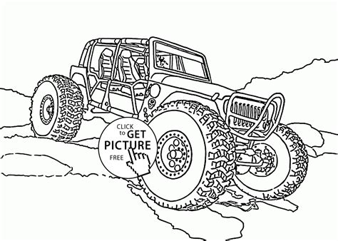 Mini Monster Truck Coloring Page For Kids, Transportation