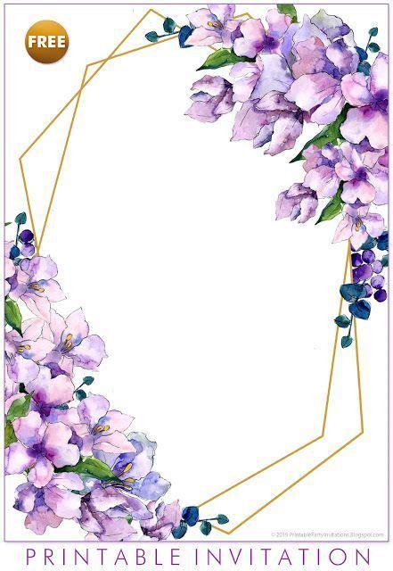 FREE Printable Purple Floral Invitation Templates #
