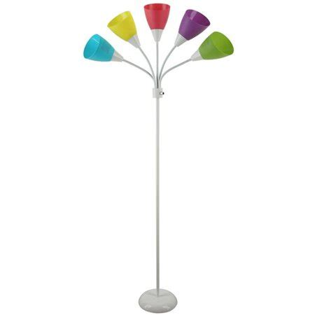 floor l multi color shades mainstays white 5 light floor l with multi colored shades walmart
