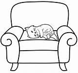Sleeping Cat Coloring Sofa Mitraland sketch template