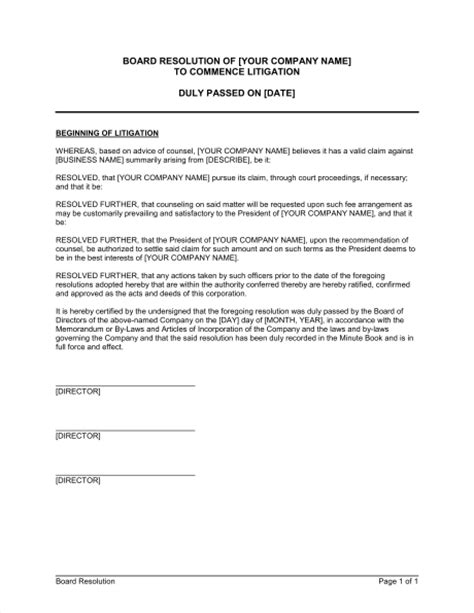 Board Resolution to Commence Litigation Template – Word