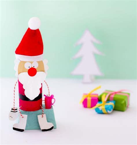 nikolaus aus klorolle basteln weihnachtsmann basteln