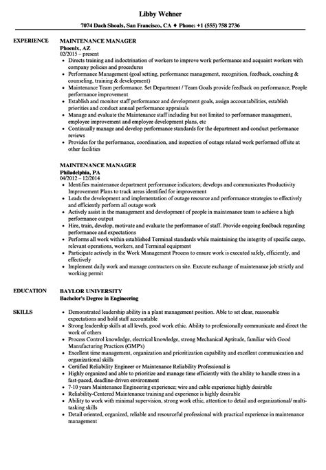 Apartment Maintenance Supervisor Resume Template Hotel Sample
