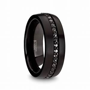 VALIANT Black Tungsten Ring With Black Sapphires 8mm