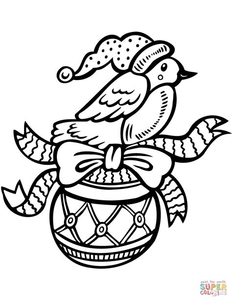 Coloring Ornaments by Ornament With Bird Coloring Page Free