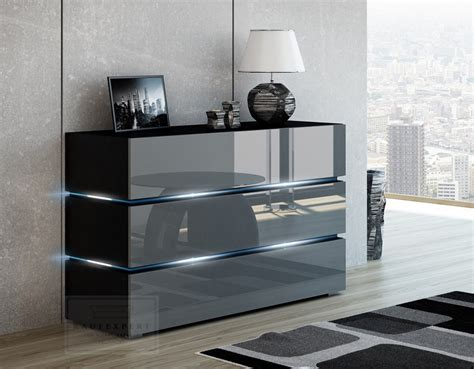 kaufexpert kommode shine sideboard  cm grau hochglanz