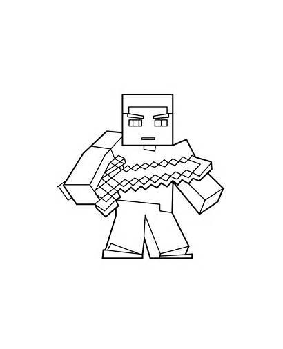 Coloring Minecraft Sword Steve Printable Popular