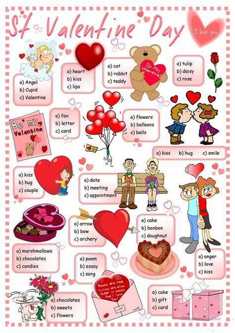 st valentine for preschool st s day quiz worksheet free esl printable 744