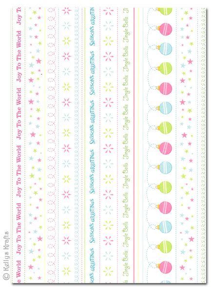 patterned card candy christmas border strips  sheet