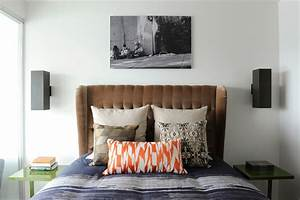sumptuous, wingback, headboard, in, bedroom, eclectic, with, small, bedside, table, next, to, bachelor