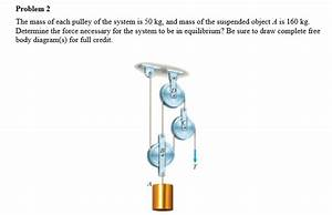 Solved  The Mass Of Each Pulley Of The System Is 50 Kg  An