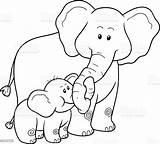Coloring Elephants Children Vector Illustration Elephant Animal Africa Res sketch template