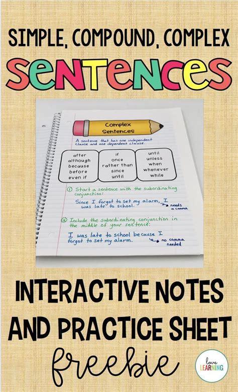 simple compound  complex sentences interactive notes
