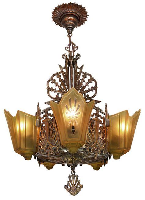 american deco bronzed metal slip shade chandelier