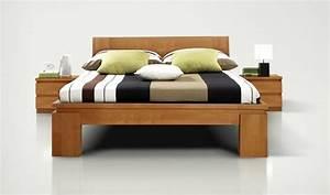 Lit En Bois Massif : lit en bois naturel vinci haut mobilier en bois massif discount pour chambre coucher ~ Teatrodelosmanantiales.com Idées de Décoration