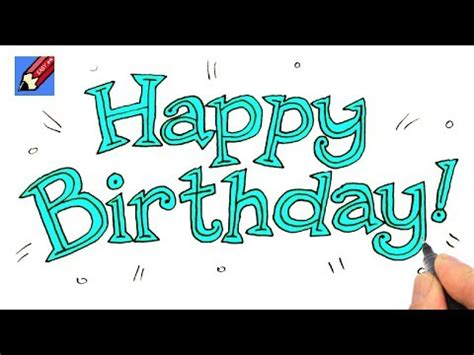 draw happy birthday lettering real easy shoo rayner   draw
