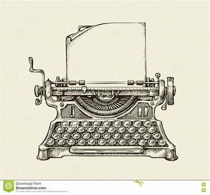 Typewriter Hand Sketch Illustration Drawn Vector Drawing