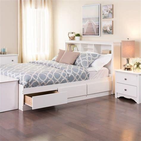 storage bed white prepac monterey white bookcase platform