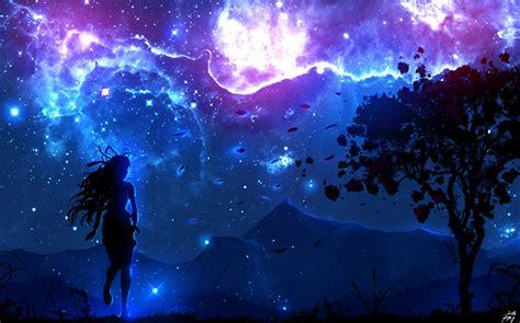 Anime Digital Wallpaper - digital landscape trees anime sky