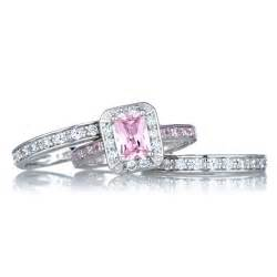 black wedding ring sets pink black wedding ring pink wedding ring set diamantbilds