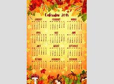 Autumn calendar template of fall nature season 2018 year