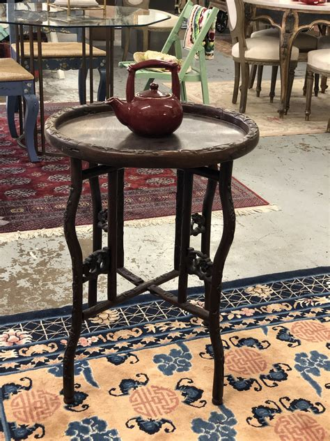 carved wood collapsable table  diameter   high