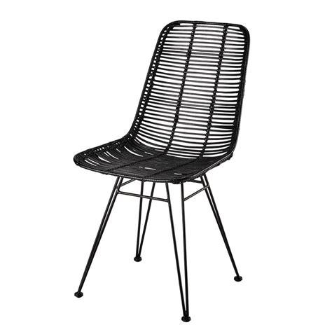 chaise en rotin  metal noire pitaya maisons du monde