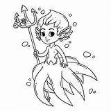 Mermaid Coloring Male Vector Man Merman Illustration Children Octopus Triton Clip Clipart Fairy Drawing Isolated Background Illustrations Silhouette Vectors Drawings sketch template
