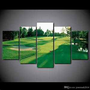 canvas art hd printed golf course green land wall canvas With golf wall art