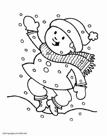 Winter Pages Coloring Season Colouring Printable Seasons