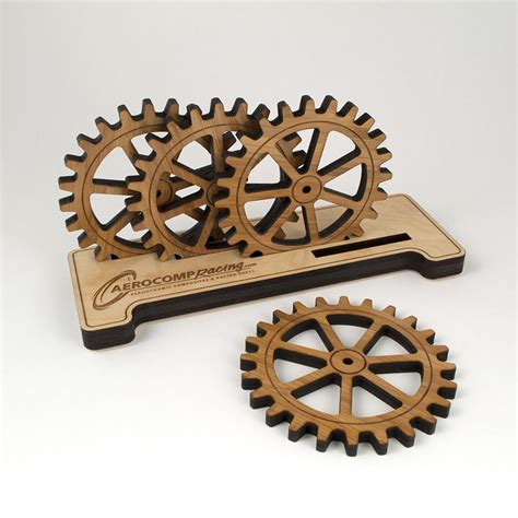 gear bamboo coasters personalized base holder graphic