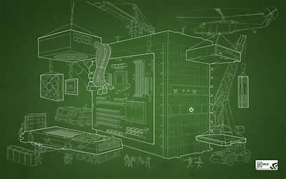 Simple Technology Background Computer Construction Blueprints Site