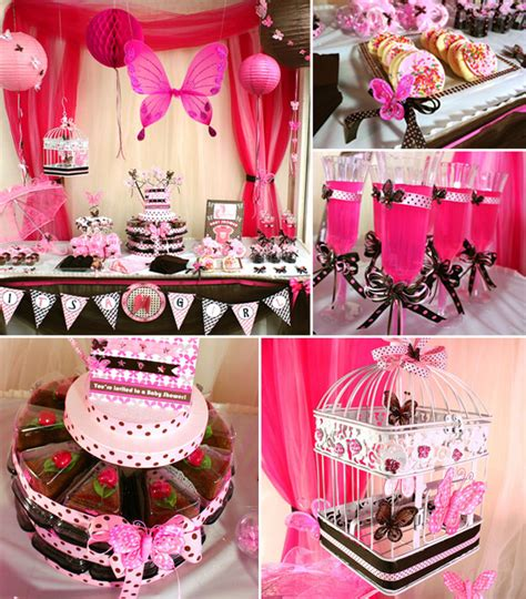 baby shower themes girl pink and brown butterfly baby girl shower ideas baby