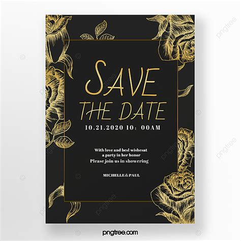 Black Gold Luxury Card Invitation Poster Template for Free